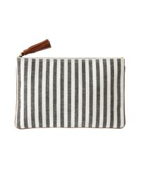 Madewell Green The Dots Stripes Telegram Clutch