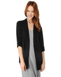 Splendid Black 3/4 Sleeve Light Jersey Cardigan