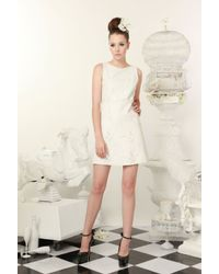 Alice + Olivia White Abby Leather Laser Cut Dress