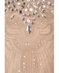 Carolina Herrera Natural Round Neck Embroidered Gown