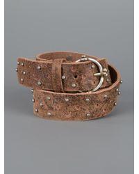 Diesel Black Gold   Brown Studded Leather Belt for Men   Lyst