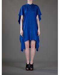 DKNY   Blue Oversize Silk Dress   Lyst