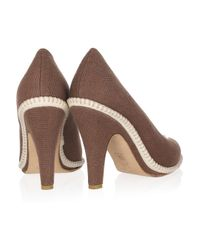 Marni Brown Stitchdetailed Canvas Pumps