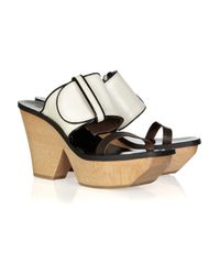 Marni Natural Texturedleather and Wood Mules