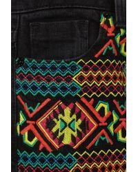 TOPSHOP Black Premium Embroidered Jamie Jeans