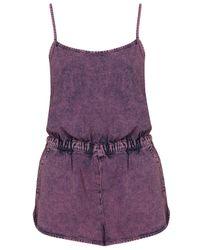 TOPSHOP Purple Overdyed Denim Playsuit