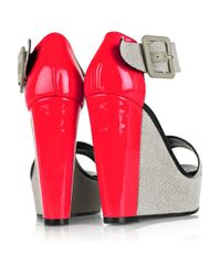 Pierre Hardy Gray Colorblock Canvas and Patentleather Wedge Sandals