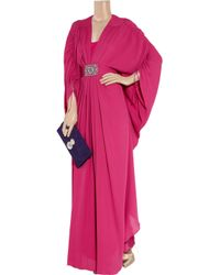 Temperley London Pink Long Oberon Embellished Silk Gown