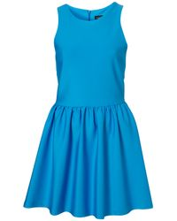TOPSHOP Blue Scuba Skater Dress