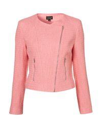 TOPSHOP Pink Coord Boucle Biker Jacket