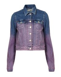 TOPSHOP Purple Dip Dyed Denim Jacket