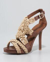 Tory Burch | Brown Fleur High Heel Sandal | Lyst