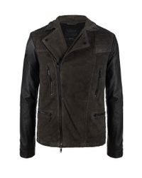 AllSaints Gray Able Leather Jacket for men