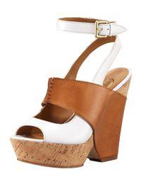 Ash - Brown Colorblock Cork Wedge Sandal - Lyst