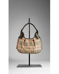 Burberry Brown Small Haymarket Check Hobo Bag