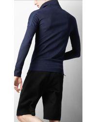 Burberry Sport Blue Zipfront Wool Jersey Sweater for men