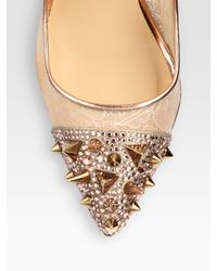 Christian Louboutin | Beige Picks Co Crystal Studembellished Lace and Metallic Leather Pumps | Lyst