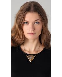 House of Harlow 1960 - Metallic Large Resin Engraved Pyramid Necklace - Lyst