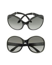 Prada Black Large Round Foldable Sunglasses
