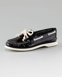Sperry Top-Sider Black Authentic Patent Leather Boat Shoe