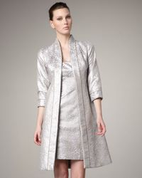 THEIA | Beige Three Quarter Sleeve Brocade Coat | Lyst