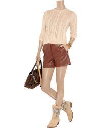 Tibi Brown Leather Shorts