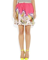 Vera Wang | Multicolor Printed Twisted Stretchcotton Skirt | Lyst