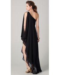 Halston Heritage | Black One Shoulder Cascade Gown | Lyst