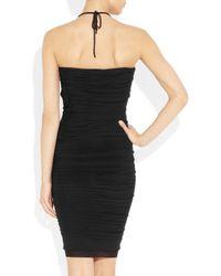 Isabel Marant Black Liz Ruched Stretch Crepejersey Mini Dress