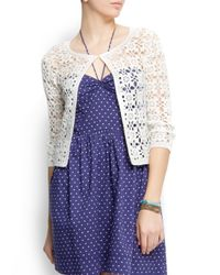 Mango - White Crochet Cardigan - Lyst