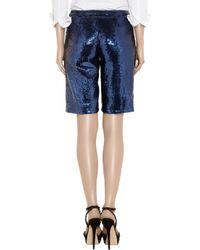Adam Lippes Blue Sequined Silk-chiffon Shorts
