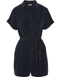 Equipment Blue Signature Washed-silk Playsuit