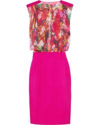 Preen By Thornton Bregazzi Pink Leaf Printed Blouse Dress