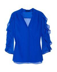 Tibi | Blue Silk-crepe and Chiffon Blouse | Lyst