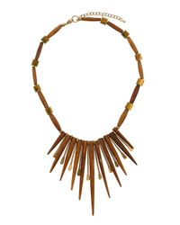 TOPSHOP - Brown Wooden Spike Collar Necklace - Lyst