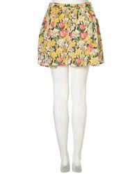 TOPSHOP Green Leopard Jacquard Miniskirt