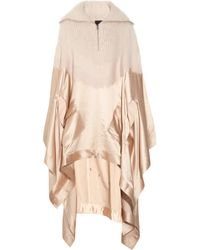 Alexander Wang | Natural Knitted and Satin Poncho | Lyst