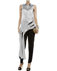 Alexander Wang - Metallic Ribboned Silk Blouse - Lyst