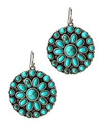 Lucky Brand - Blue Turquoise Set Stone Disk Earrings - Lyst
