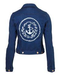 TOPSHOP Blue Anchor Denim Jacket