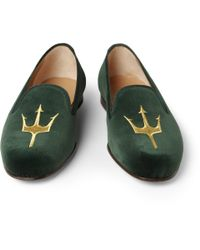 Stubbs & Wootton - Green Embroidered Velvet Slippers for Men - Lyst