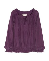 Textile Elizabeth and James - Purple Laeticia Smocked Washed-silk Blouse - Lyst