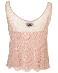 TOPSHOP Pink Scallop Lace Embellished Top