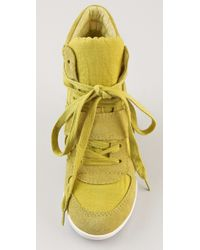 Ash - Yellow Bowie Suede Lace Up Wedge Sneakers - Lyst