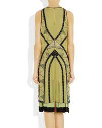 Etro - Yellow Embellished Silkgeorgette Dress - Lyst