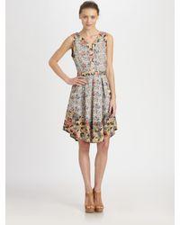 SUNO Multicolor Cutout Curved Hem Dress