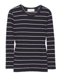 A.L.C. Blue Travis Striped Cotton-jersey Top