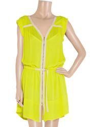 A.L.C. Yellow Meg Zip-through Washed-silk Dress