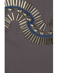 Alice By Temperley | Gray Mini Monte Bead Embellished Crepe Dress | Lyst