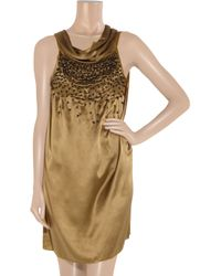 Day Birger et Mikkelsen Metallic Night Champagne Beaded Silk-satin Dress